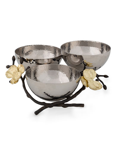 Gold Orchid Triple Nut Dish