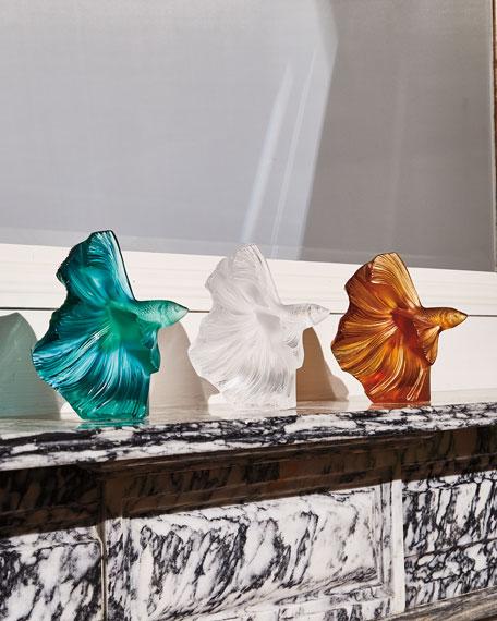 Lalique Fighting Fish Sculpture, Green