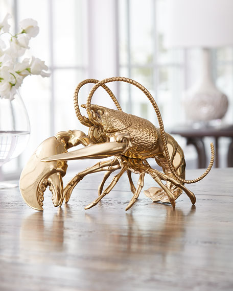 Jay Strongwater Brass Lobster Figurine
