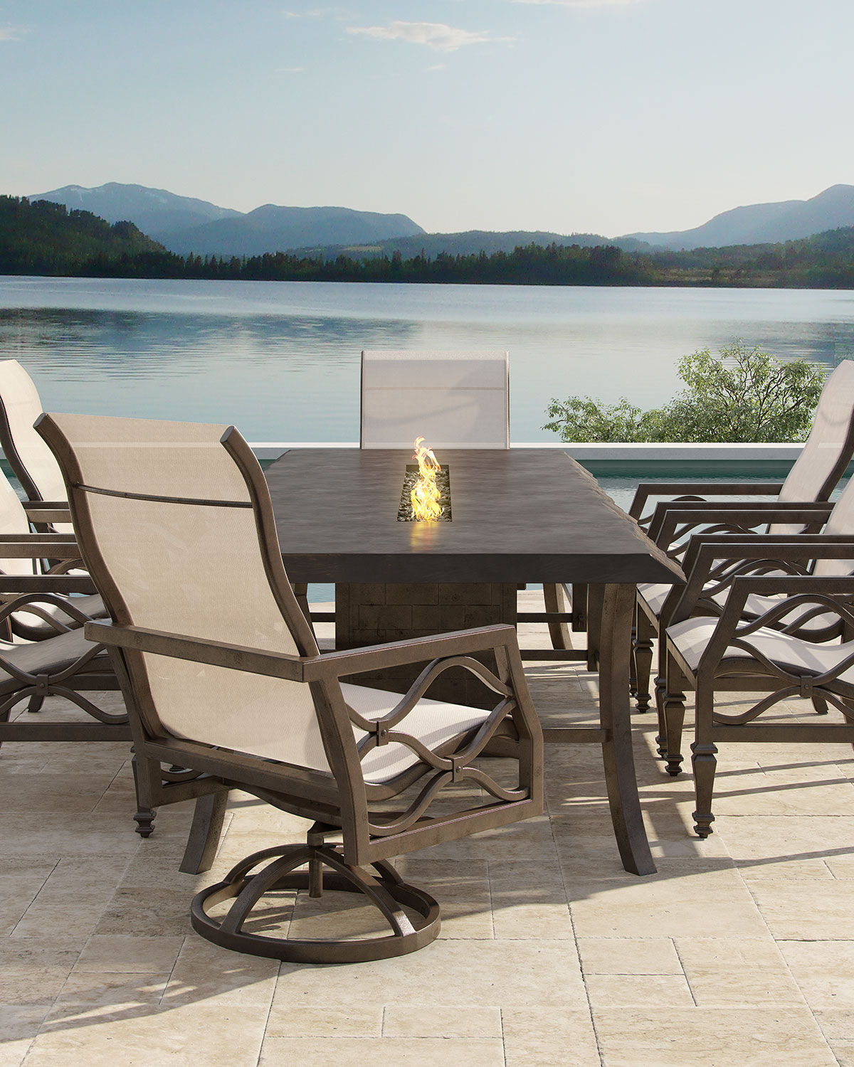 Castelle Clical Outdoor Fire Pit Dining Table