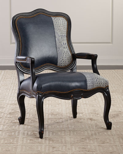 Amy Leather Bergere Chair