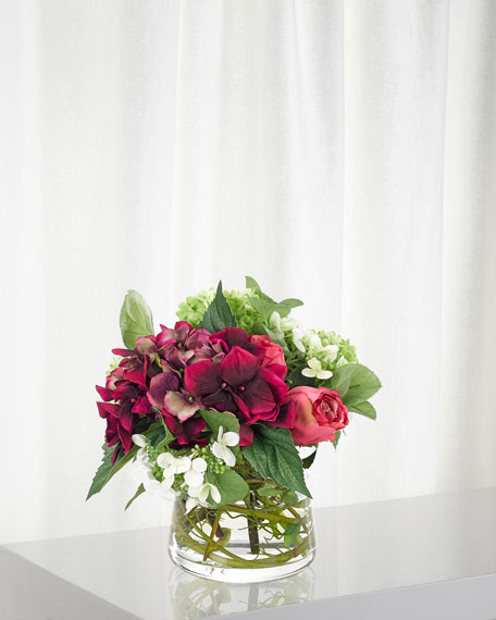 NDI Hydrangea Rose Arrangement in Glass Pyramid