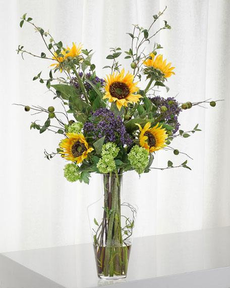 NDI Sunflower Hydrangea Arrangement in Glass Vase