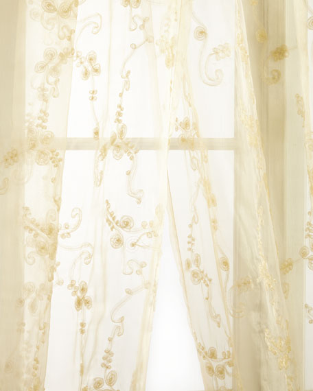 "Sweet Dreams Each Golden Crystal Palace Organza Sheer Curtain, 108""L"