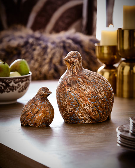 Wooden Quails, Set of 2