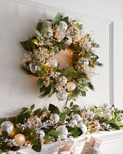 Crystal 28 Pre-Lit Wreath