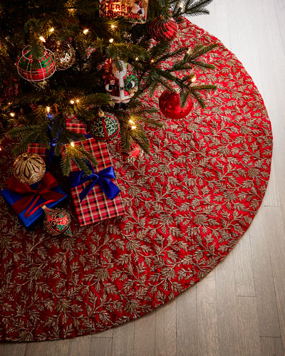 Floral Metallic Taffeta Tree Skirt