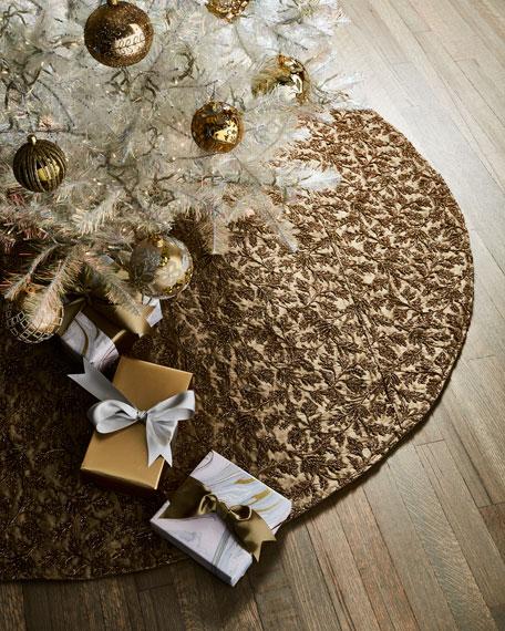 D. Stevens Taffeta Metallic Embroidered Floral Tree Skirt
