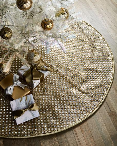 D. Stevens Faux Metallic Mirror Jeweled Tree Skirt