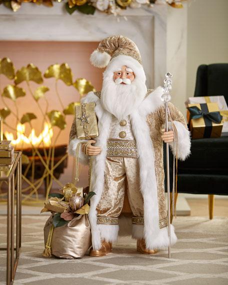 """Gold Christmas Santa, 36"""""""