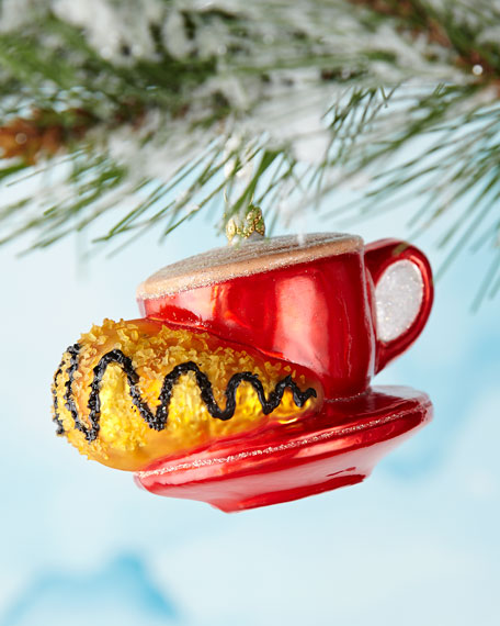 Coffee Cup with Croissant Ornament