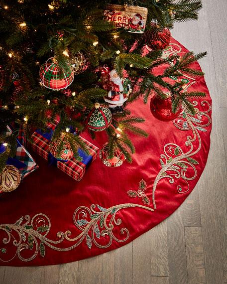 Classic Christmas Scroll Tree Skirt