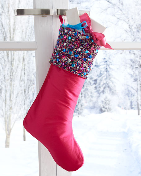 Holiday Brights Stocking w/ Beaded Cuff