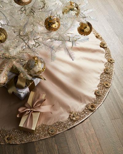 Gold Christmas Floral Tree Skirt