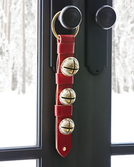 Belsnickel Bells 3 Brass Bells on Red Leather Strap
