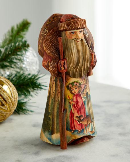 G. Debrekht Christmas Guidance Wood-Carved Santa