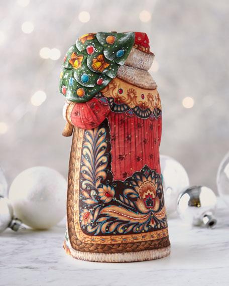 G. Debrekht Up Up and Away Wood-Carved Santa