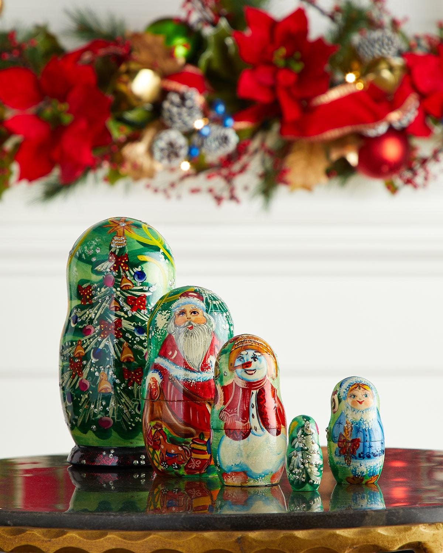 G. Debrekht Mr. & Mrs. Christmas Nesting Dolls, Set of 5