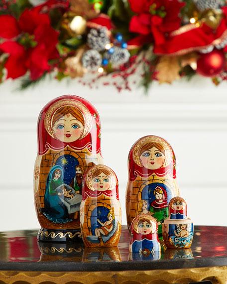 G. Debrekht Story of Nativity Nesting Dolls, Set of 5