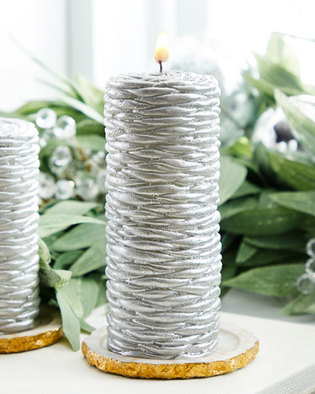 Silver Rope Tall Candle