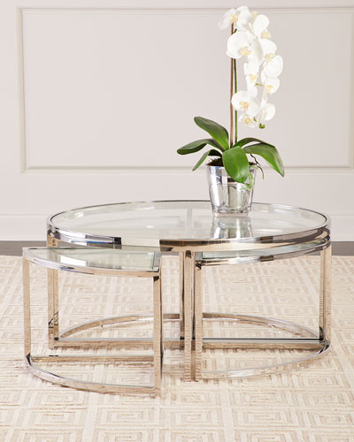 Majestic Polished Nickel Coffee Table Set