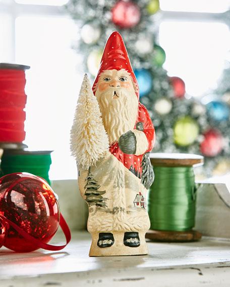 Vaillancourt Folk Art Village SceneFather Christmas w/ Tree Figurine
