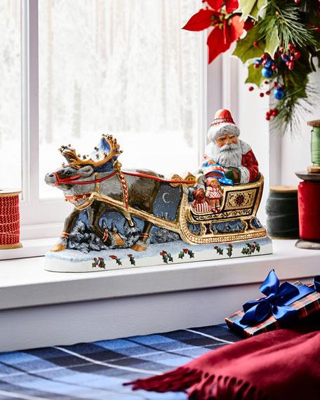 Vaillancourt Folk Art Santa with Gold Sleigh Figurine