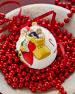 Vaillancourt Folk Art Jingle Ball Snowsuit Baby & Candies Santa Ornament