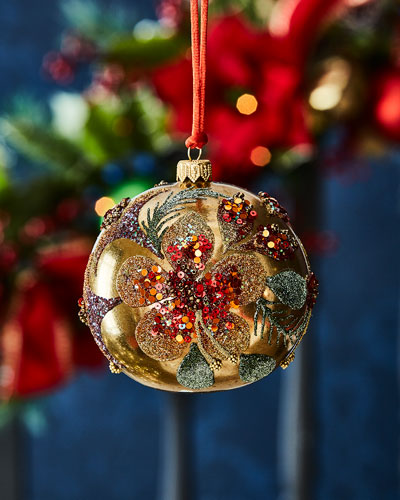 Gold Ball With Beaded Flower Christmas Ornament