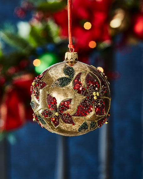 Gold Ball w/ Red Sequined Poinsettia Christmas Ornament
