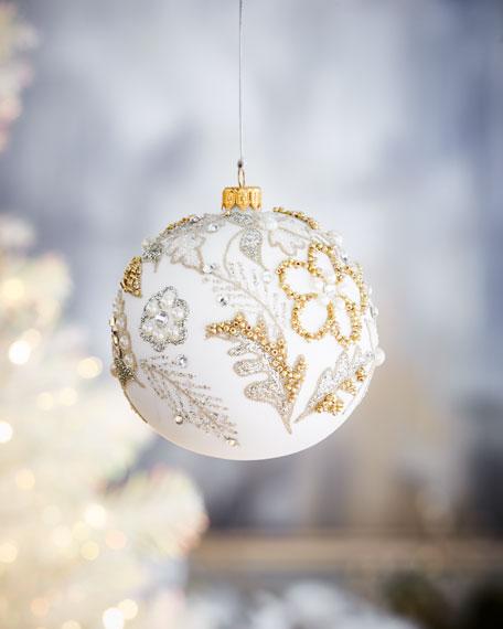 White Ball w/ Flowers & Beads Christmas Ornament
