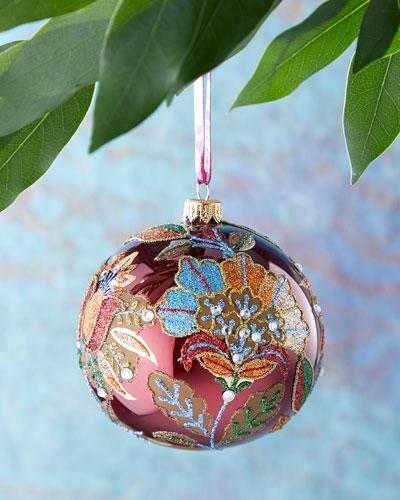 Burgundy Shiny Glitter Flower Ball Ornament