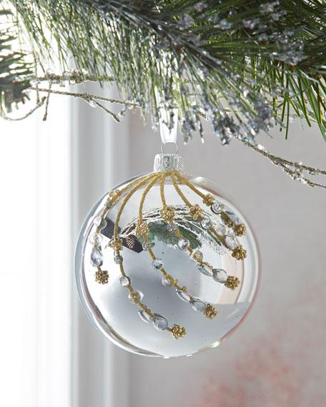 Silver Shiny Ball Christmas Ornament w/ Crystal Stones