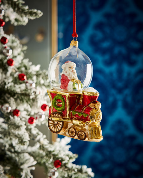 Santa In Globe On Train Christmas Ornament