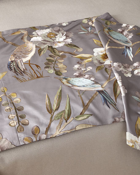 Fino Lino Linen & Lace Avia Gray King Bed Scarf
