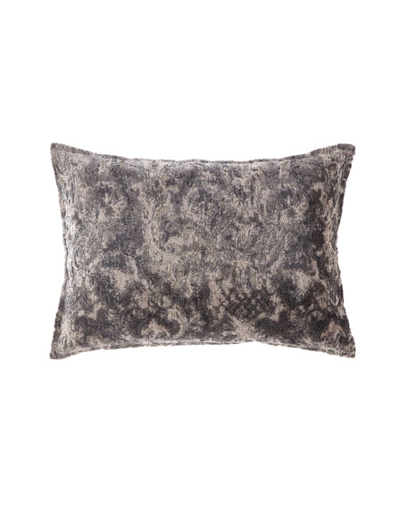 Fino Lino Linen & Lace Verbina Gray Chaise Pillow