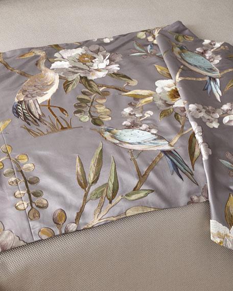 Fino Lino Linen & Lace Avia Gray Queen Bed Scarf