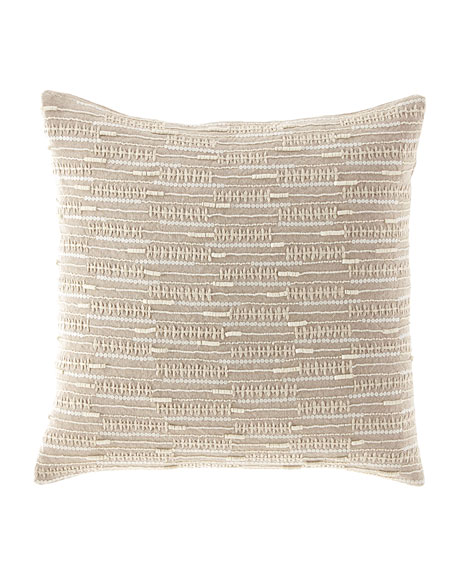 Callisto Home Linear Beaded & Embroidered Linen Pillow