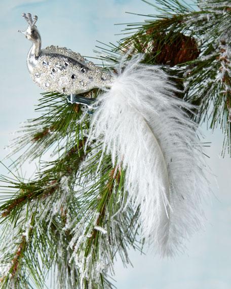 White Peacock Clip Ornament