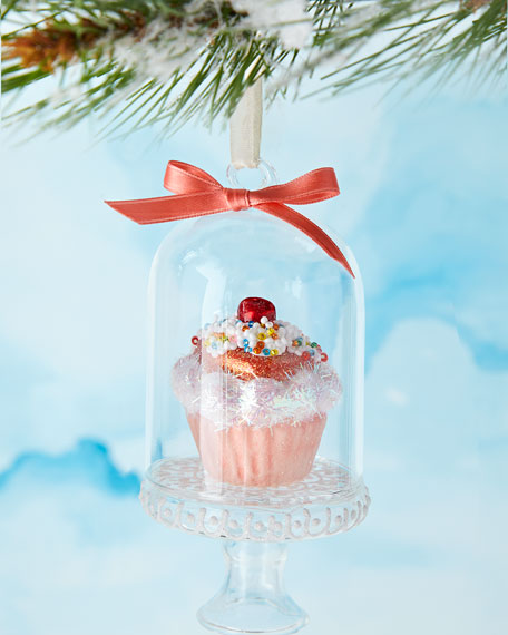 Pink Cupcake with Sprinkles in Dome Ornament