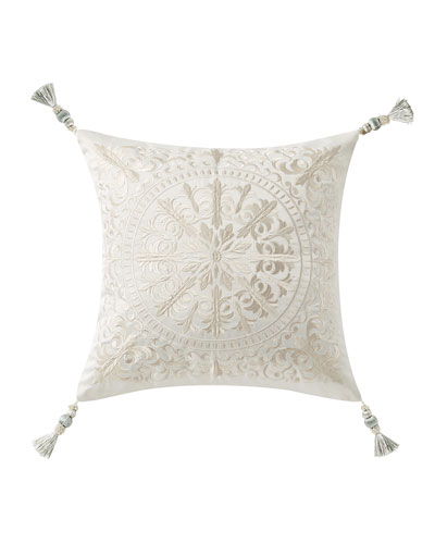 Daphne Embroidered Square Pillow w/ Tassel Trim