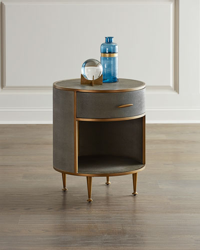 Round Faux-Shagreen Night Stand