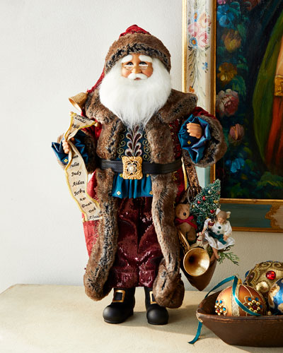 Lighted Jewel Tone Manor Santa