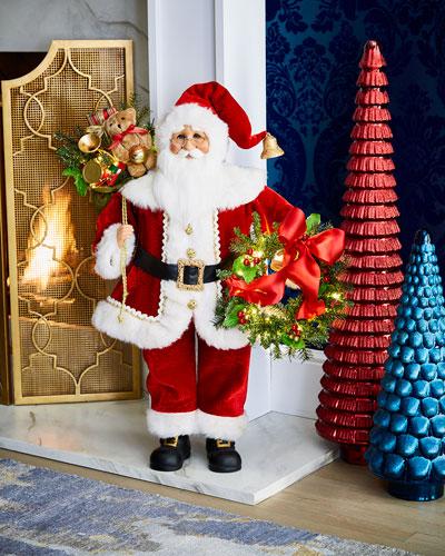 Lighted Wreath Gift Santa