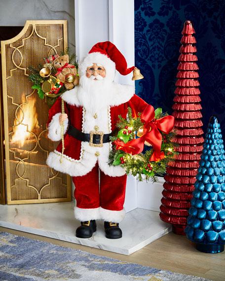 Karen Didion Originals Lighted Wreath Gift Santa