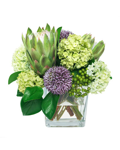 Protea Flowers in Glass Vase