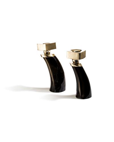 Dark Bull Horn Candlestick Holders, Set of 2