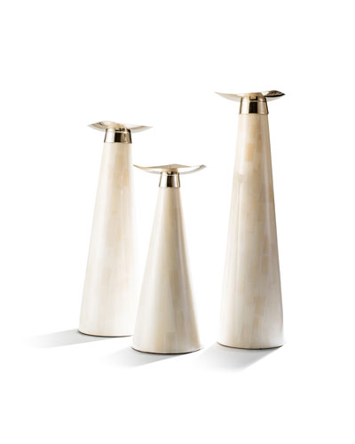 Bone Candlestick Holder Trio Set