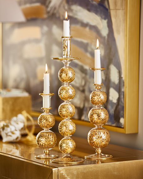 "Al Fagr 12.5"" Gold Cut Candleholder"