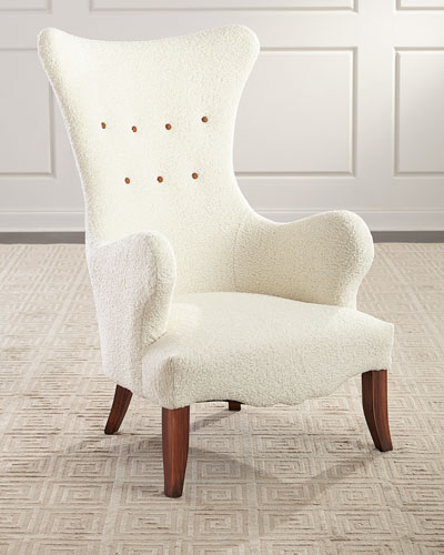 Ariana Faux Sheepskin Wing Chair